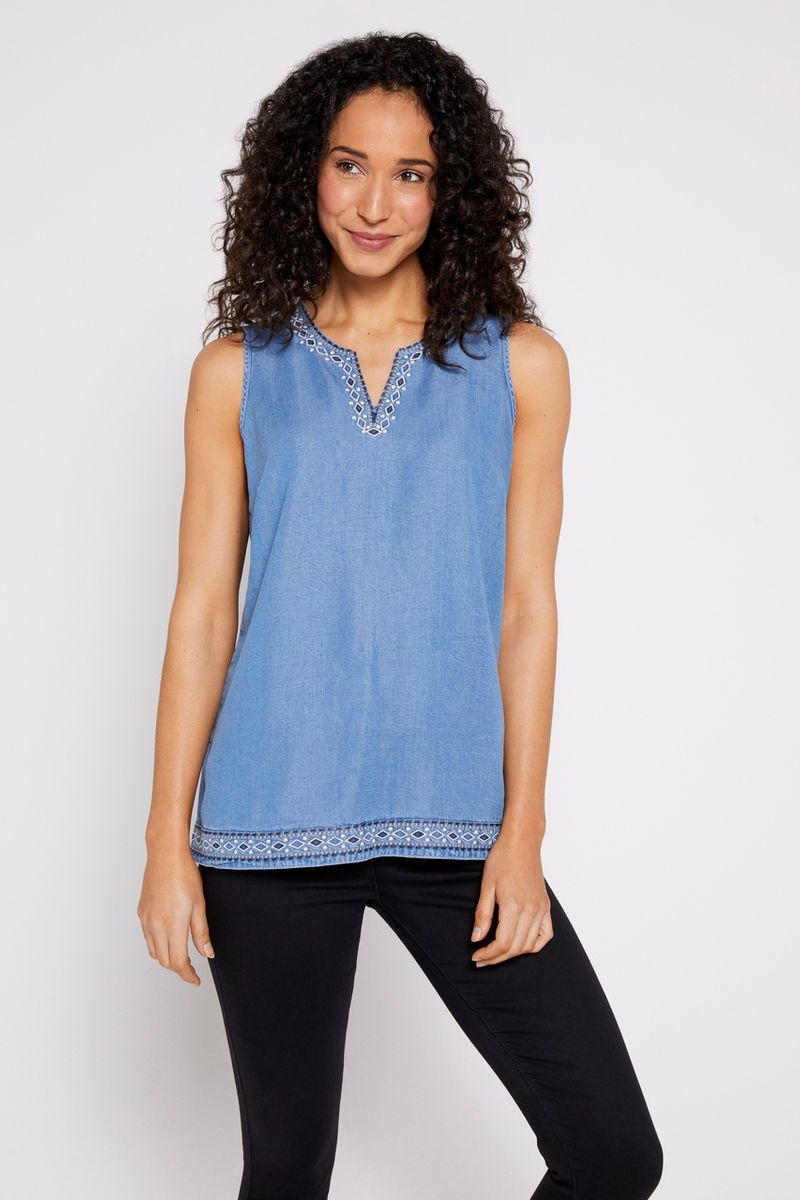Tencel Sleeveless Embroidered Top