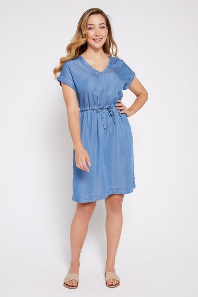 V-neckline Tencel Dress