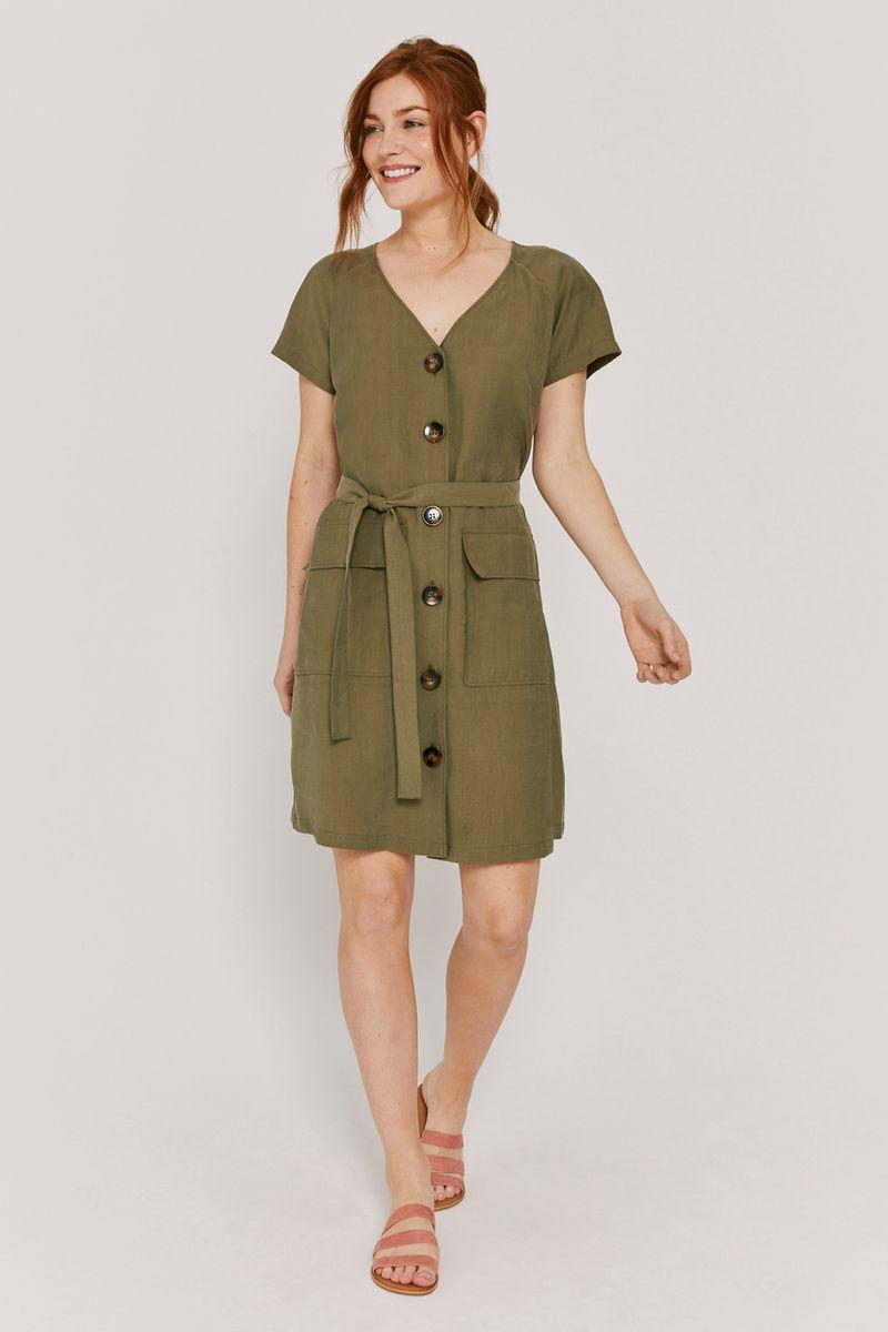Khaki Button Dress