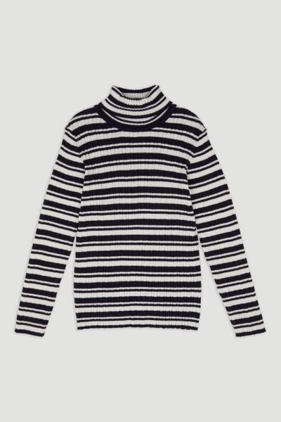 Navy Stripe Skinny Rib top 3-14yrs