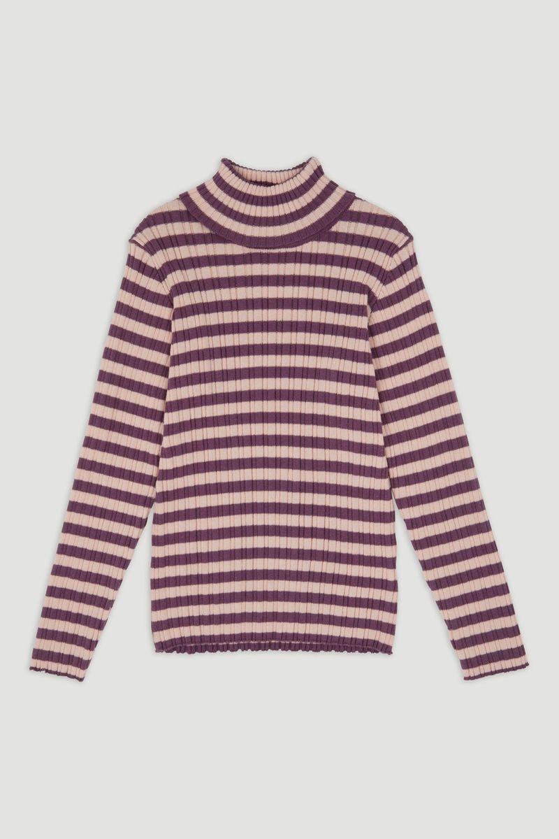 Purple Stripe Skinny Rib top 3-14yrs