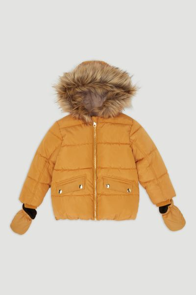 Mustard Padded Coat with Mittens