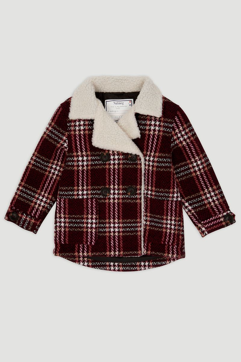 Red Sherpa Check Coat