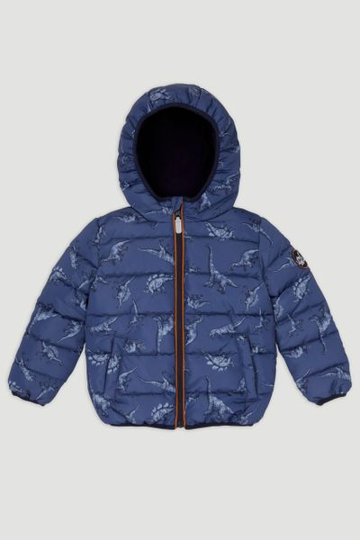 Navy Dino Print Padded Coat