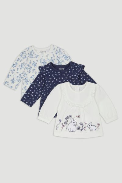 3 Pack Blue Bunny Long Sleeve T-Shirts