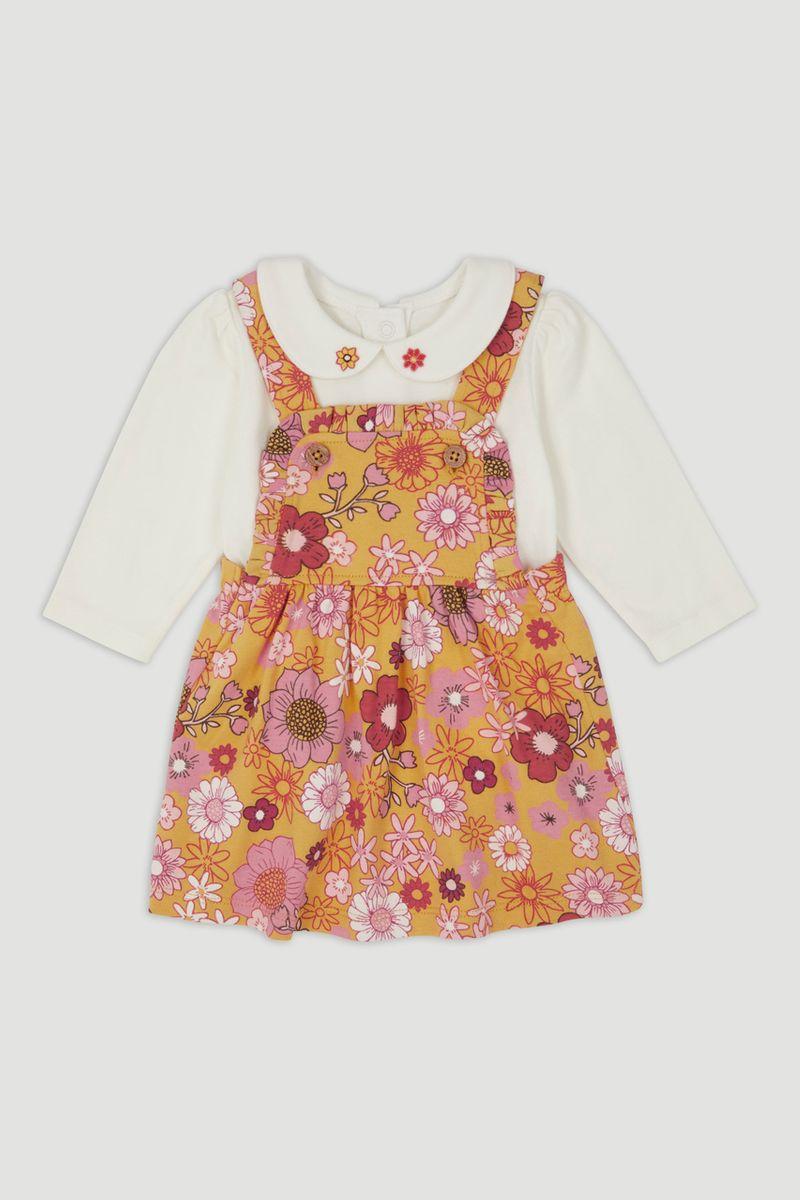 Sunflower Pinafore Dress Set