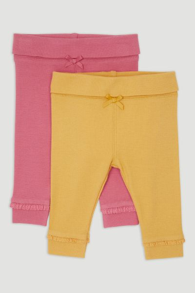 2 Pack Yellow & Pink Rib Leggings