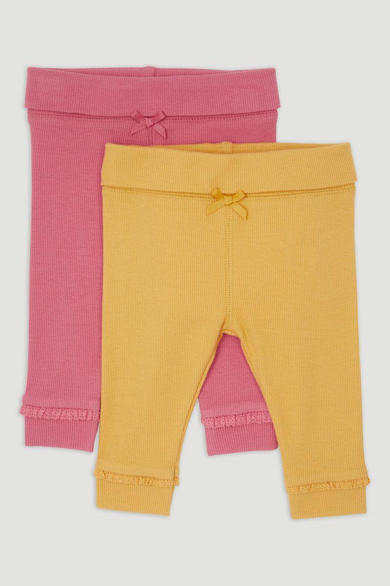 2 Pack Yellow & Pink Rib Leggings