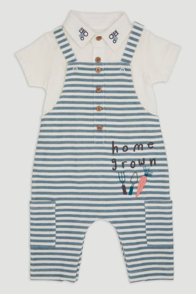 Home Grown Stripe Dungaree Set