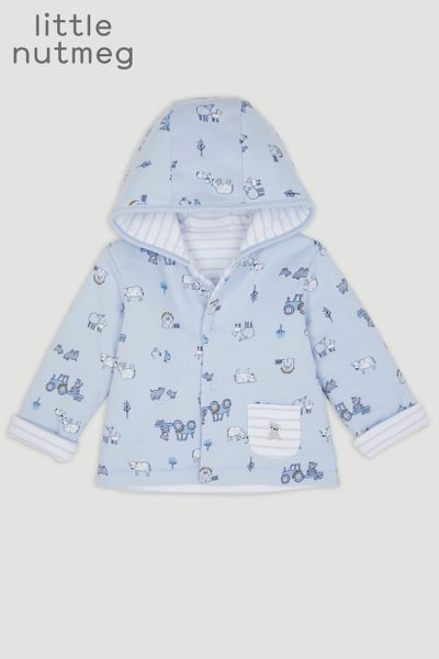 Little Nutmeg Blue Print Reversible Jacket