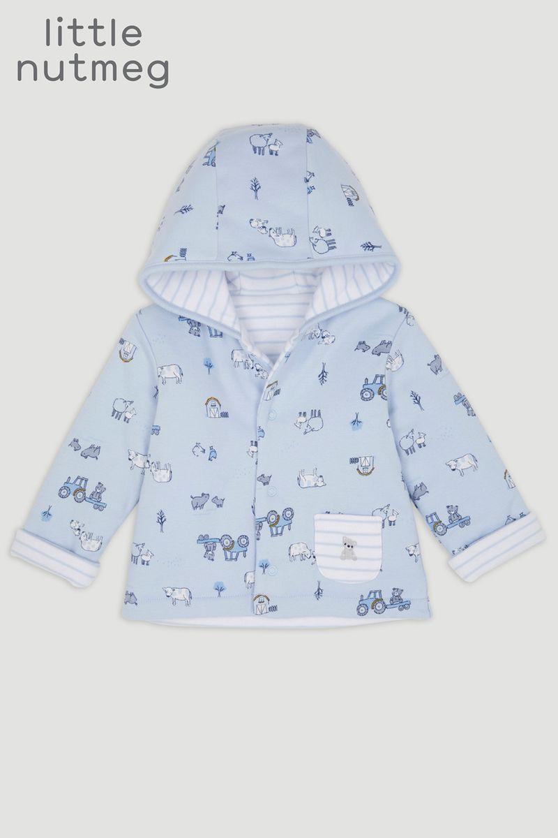 Little Nutmeg Blue Print Reversible Jacket