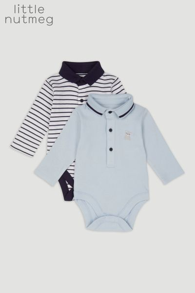 Little Nutmeg 2 Pack Bear Stripe Bodysuits
