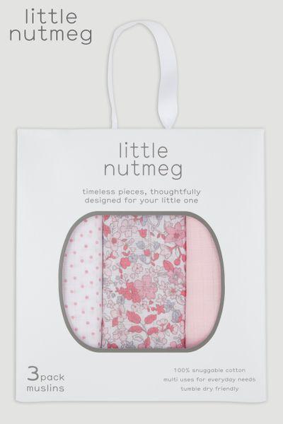 Little Nutmeg 3 Pack Pink Floral Muslin Squares