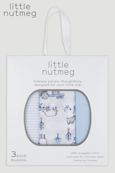 Little Nutmeg 3 Pack Blue Bear Muslin Squares