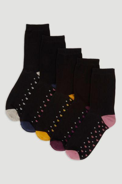 5 Pack Heart Spot Socks