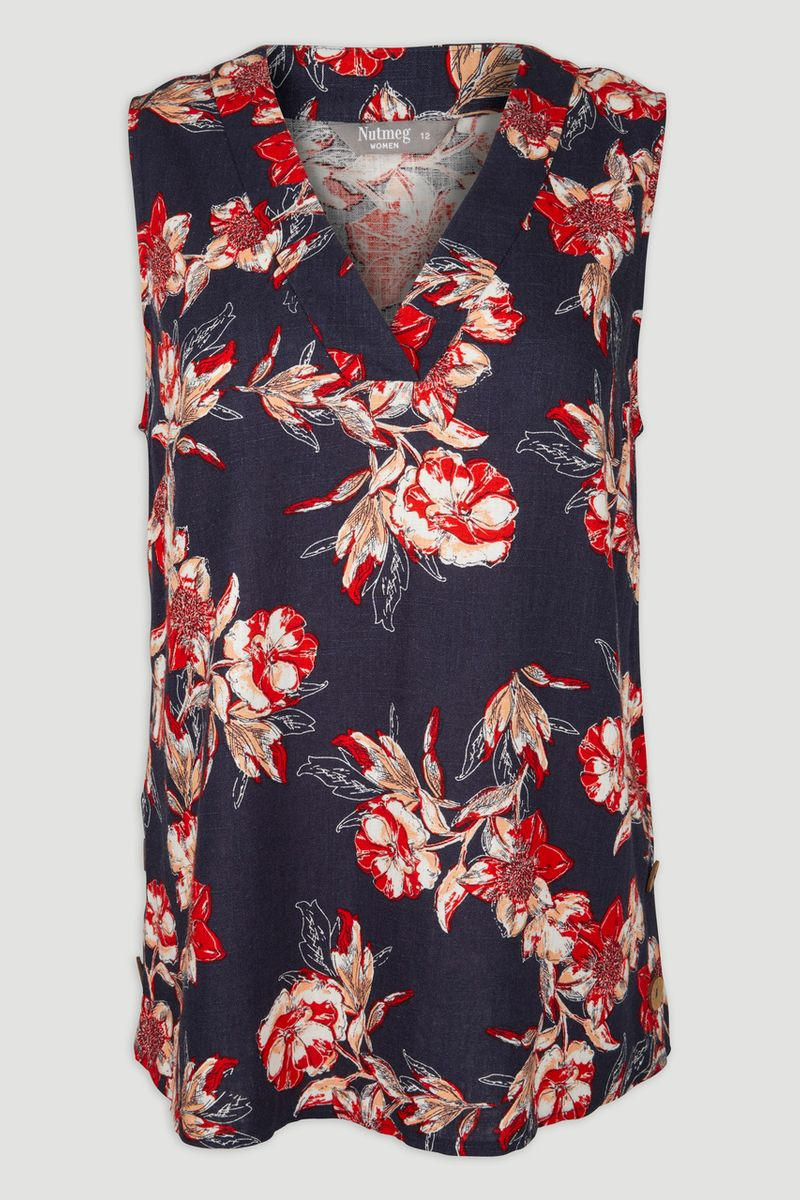 Navy Floral Co-ord Top