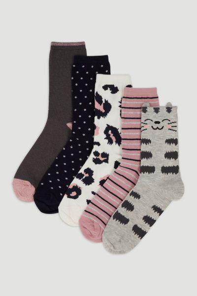 5 Pack Pink Floral Socks