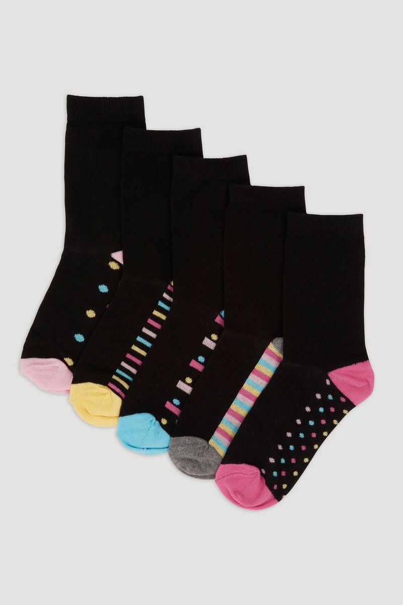 5 Pack Dots & Stripes Socks