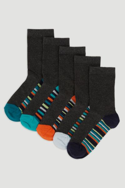 5 Pack Stripe Charcoal Socks