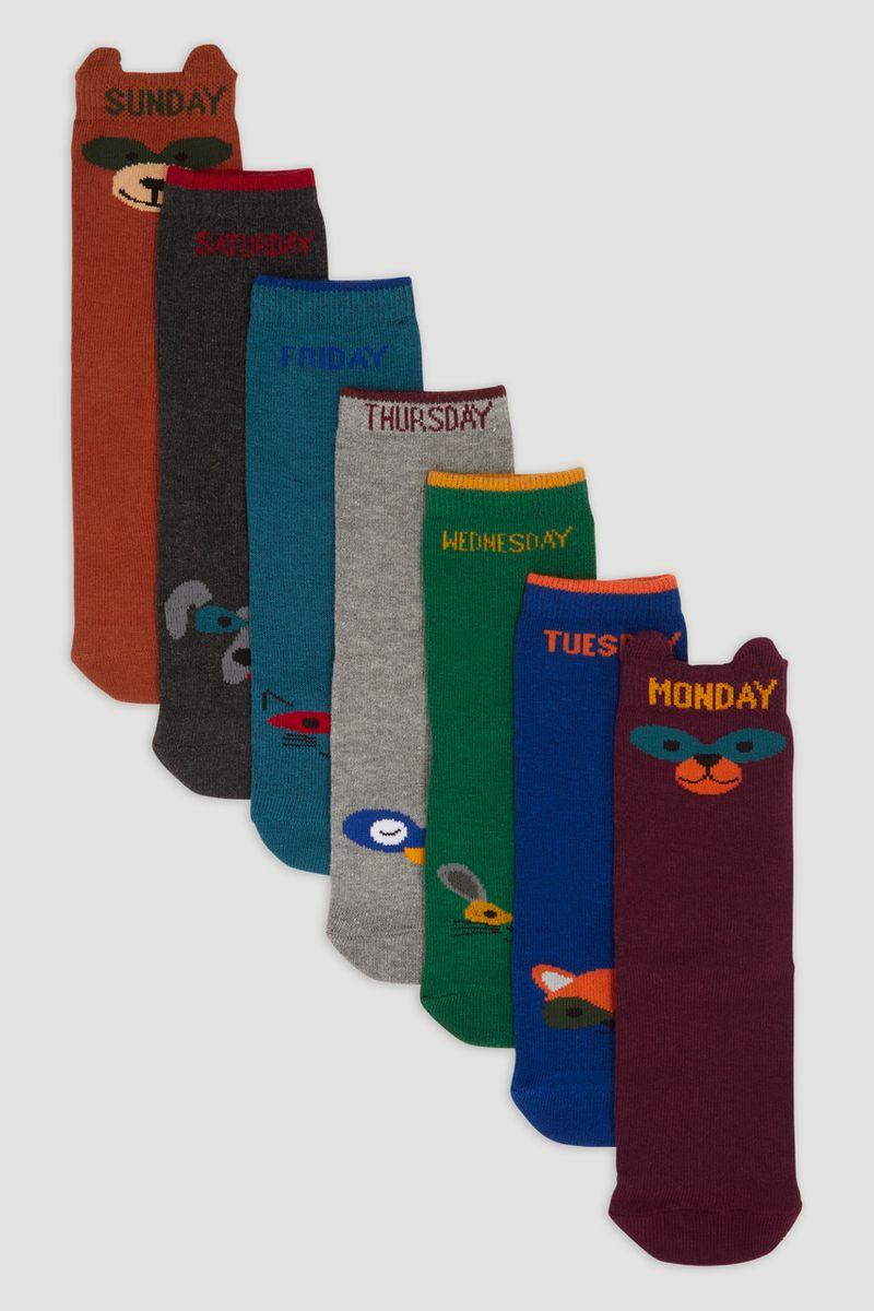 7 Pack Days Of The Week Animal Socks