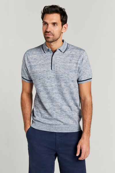 Blue Marl Knitted Polo Shirt
