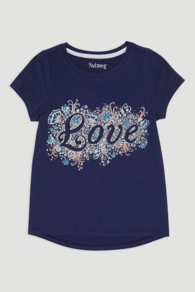 Navy Love Print T-Shirt