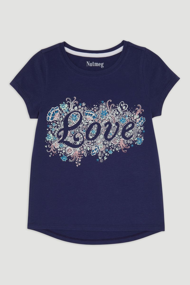 Navy Love Print T-Shirt