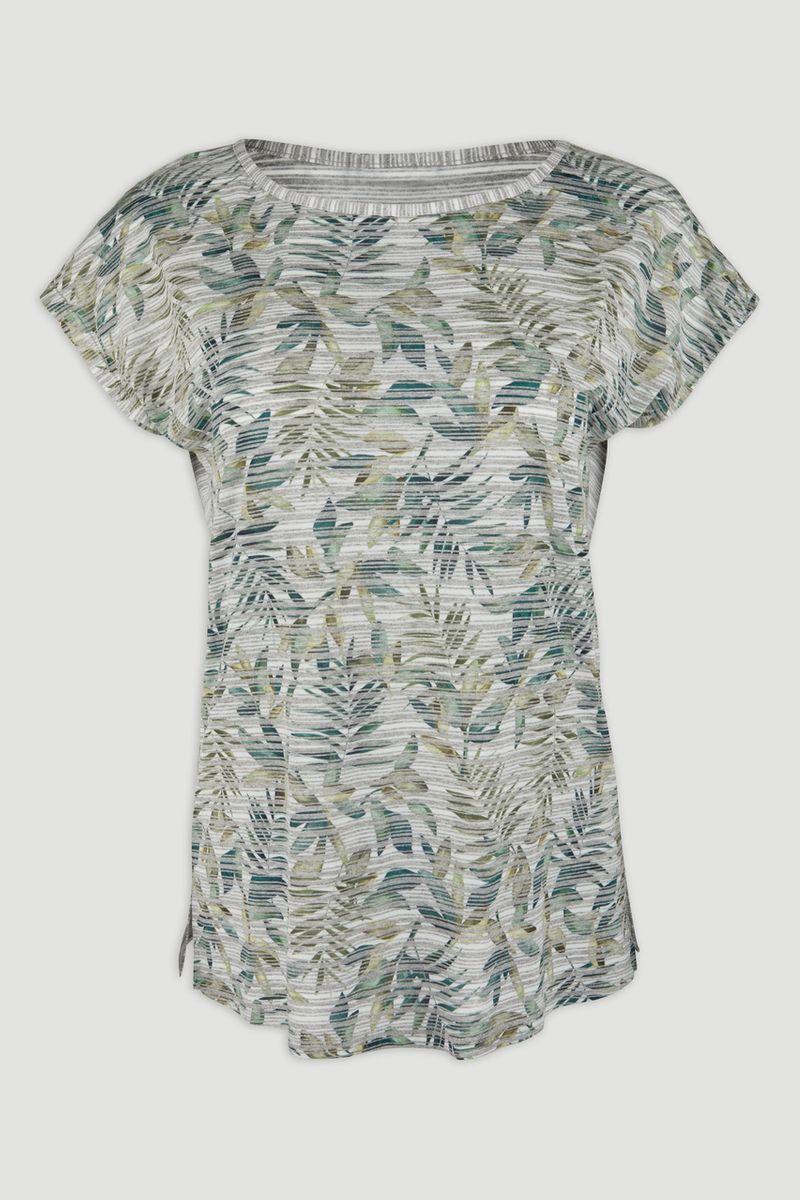 Stripe Leaf Print T-shirt