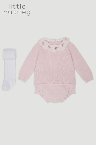 Little Nutmeg Pink Knitted Bloomer Set