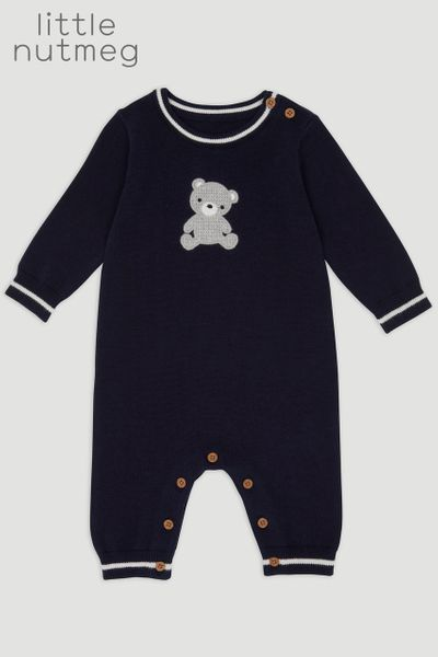 Little Nutmeg Navy Teddy Romper