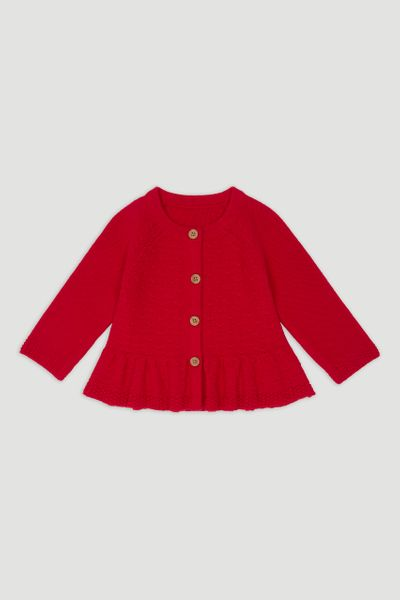 Red Peplum Cardigan