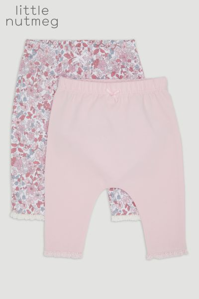 Little Nutmeg 2 Pack Pink Floral Leggings