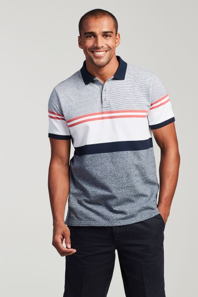 Red & Navy Colour Block Polo Shirt