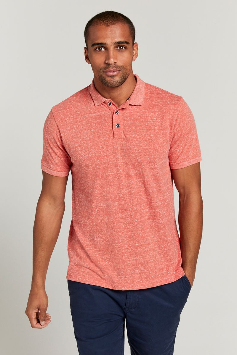 Coral Textured Polo Shirt