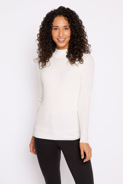 Ivory Ribbed Turtle Neck Top