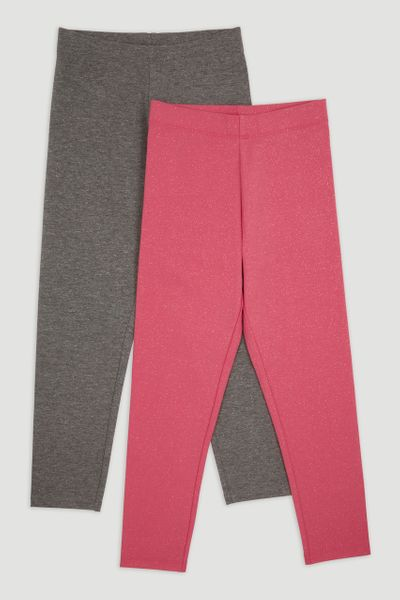 2 Pack Pink Sparkle Leggings