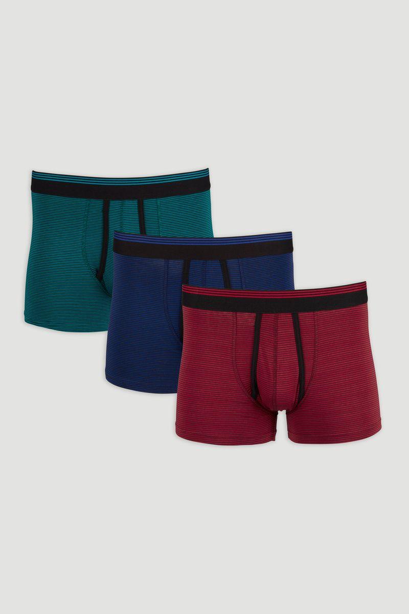 3 Pack Blue  Green & Red Stripe Trunks