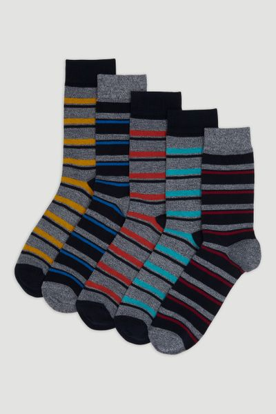 5 Pack Bright Stripe Socks