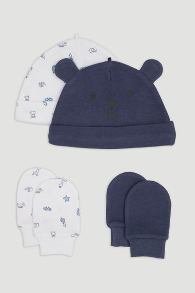 4 Piece Bear Jersey Hats & Mitts Set