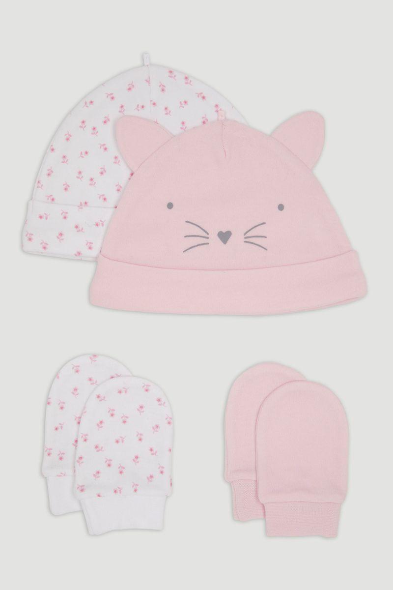 4 Piece Kitten Jersey Hats & Mitts Set