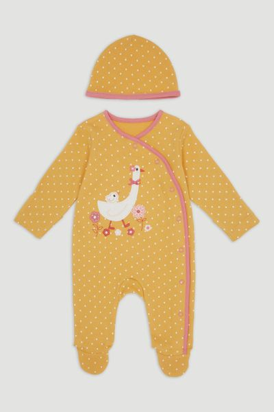 Yellow Goose Sleepsuit & Hat