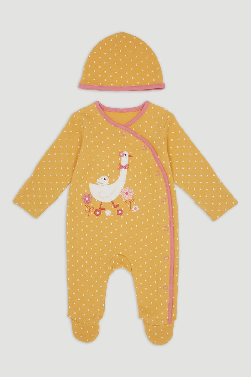 Yellow Goose Sleepsuit & Hat