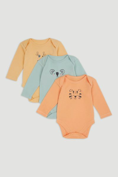 3 Pack Animal Long Sleeve Bodysuits