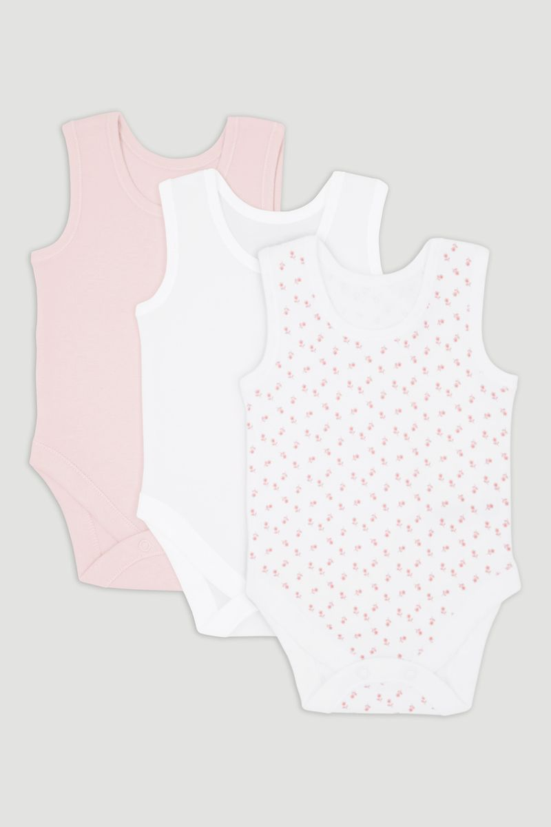 3 Pack Pink Sleeveless Vest Bodysuits