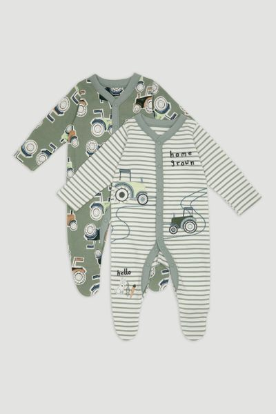 2 Pack Green Tractor Sleepsuits