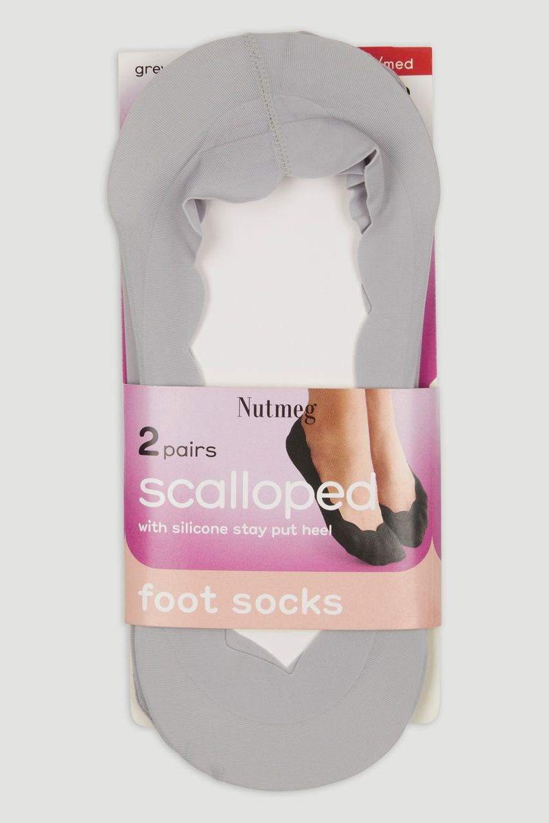 2 Pack Grey Scalloped Footsies