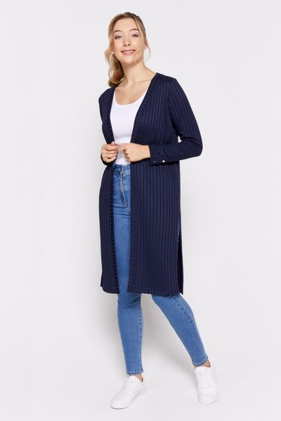 Longline Navy Ribbed Cardigan