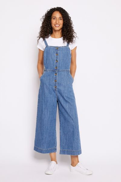 Button Front Denim Dungarees