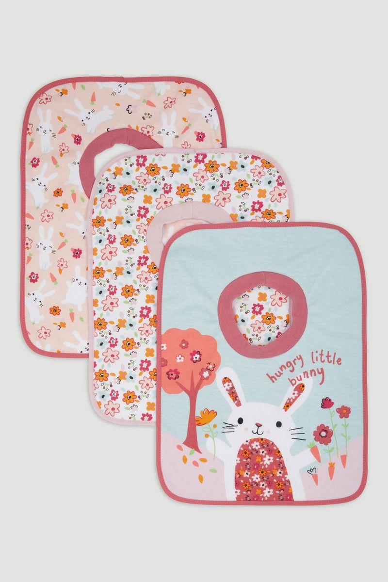 3 Pack Pink Bunny Popover Bibs