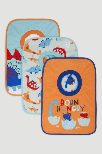 3 Pack Orange Dino Popover Bibs